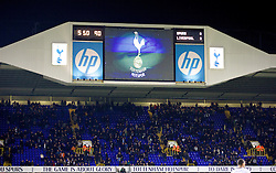 LONDON, ENGLAND - Sunday, December 15, 2013: Tottenham Hotspur's scoreboard records their side's 5-0 humiliation by a rampant Liverpool during the Premiership match at White Hart Lane. (Pic by David Rawcliffe/Propaganda)