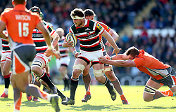 Brendon O'Connor of Leicester Tigers runs past a tackle - Mandatory by-line: Robbie Stephenson/JMP - 15/04/2017 - RUGBY - Welford Road - Leicester, England - Leicester Tigers v Newcastle Falcons - Aviva Premiership