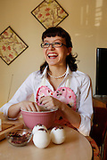 Alexis Clare, 28, of Dallas makes a batch of Romance Rose Petal Bath Bombs to fulfill Valentine's Day orders for her online business, Whipped Up Wonderful, at her home in Dallas, Texas, on January 31, 2013.  (Stan Olszewski/The Dallas Morning News)
