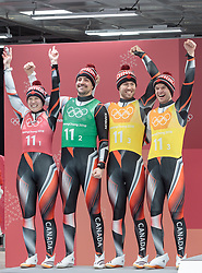 15.02.2018, Olympic Sliding Centre, Pyeongchang, KOR, PyeongChang 2018, Rodeln, Teamstaffel, Siegerpräsentation, im Bild x // during the winners presentation of the Luge team relay competition of the Pyeongchang 2018 Winter Olympic Games at the Olympic Sliding Centre in Pyeongchang, South Korea on 2018/02/15. EXPA Pictures © 2018, PhotoCredit: EXPA/ Johann Groder