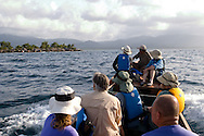 Tourists on a boat tour of the San Blas Islands of Panama
