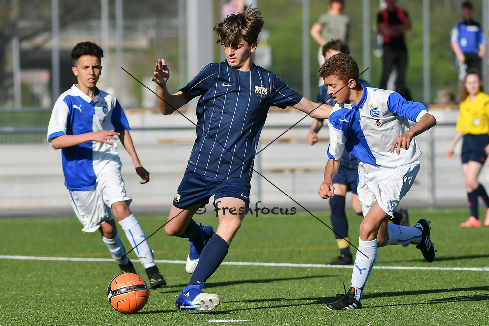 08.04.17; Zuerich; Fussball FCZ Academy - Grasshopper Club - Zuerich FE14 Oberland; <br /> Hoti Andi (Zuerich) Alidemaj Fatjon (GC) <br /> (Andy Mueller/freshfocus)