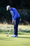 Alex Smalley (USA) putts on the second hole during the Sunday Foursomes in the Walker Cup at the Royal Liverpool Golf Club, Sunday, Sept 8, 2019, in Hoylake, United Kingdom. (Steve Flynn/Image of Sport)