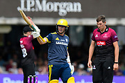 50 - Sam Northeast of Hampshire celebrates scoring a half century during the Royal London 1 Day Cup Final match between Somerset County Cricket Club and Hampshire County Cricket Club at Lord's Cricket Ground, St John's Wood, United Kingdom on 25 May 2019.