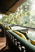 Daybeds overlooking the jungle at the restaurant