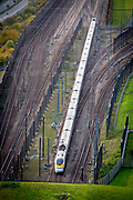 A Eurostar train enters the Eurotunnel, Cheriton, Folkestone, Kent. United Kingdom. The Channel Tunnel is a 50.45-kilometre rail tunnel linking Folkestone, Kent, in the United Kingdom, with Coquelles, Pas-de-Calais, near Calais in northern France, beneath the English Channel.  (photo by Andrew Aitchison / In pictures via Getty Images)