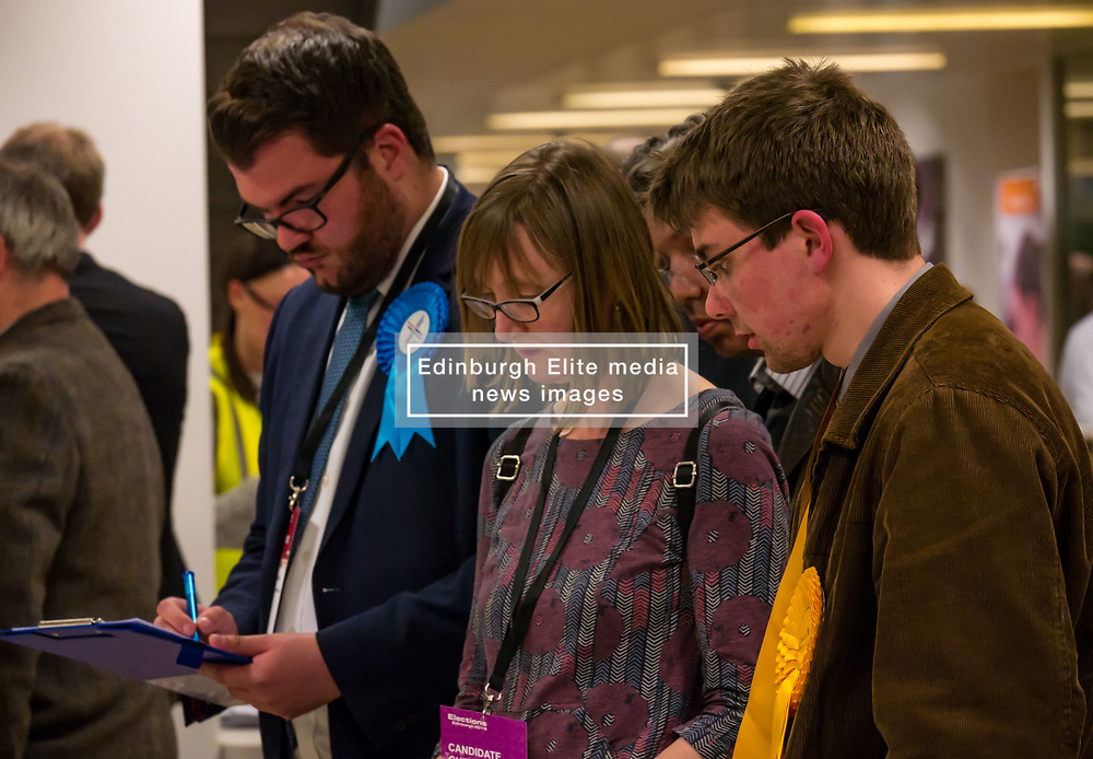 Pictured: Leith Walk Council By-Election. Edinburgh City Council, Edinburgh, Scotland, 11 April 2019. Pictured: Dan McCroskrie, Scottish Conservative and Unionist candidate and Jack Caldwell, Scottish Liberal Democrats candidate.  25,526 residents are registered to vote in one of the most densely populated areas in Scotland under the Single Transferable Vote (STV) system. This is the first time in Scotland that an STV by-election has been needed to fill two vacancies in the same ward, held as a result of the resignation of Councillor Marion Donaldson. The election fielded 11 candidates, including the first ever candidate for the For Britain Movement in Scotland, Paul Stirling, founded by former UKIP leadership candidate Anne Marie Waters in March 2018.<br /> <br /> Sally Anderson | EdinburghElitemedia.co.uk