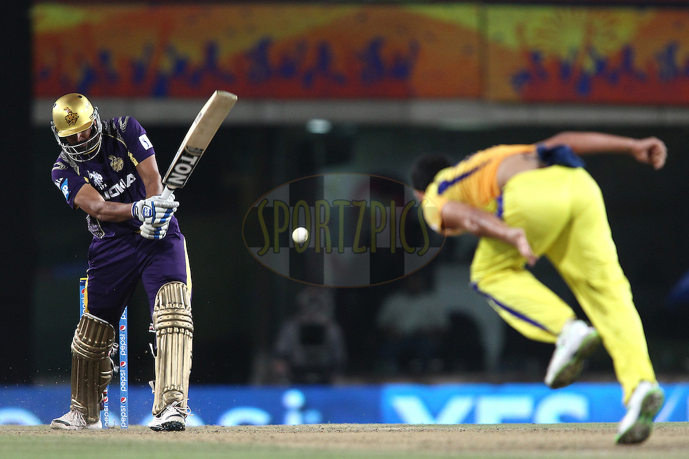 Yusuf Pathan of the Kolkata Knight Riders digs out a Mohit Sharma of The Chennai Super Kings yorker during match 21 of the Pepsi Indian Premier League Season 2014 between the Chennai Superkings and the Kolkata Knight Riders  held at the JSCA International Cricket Stadium, Ranch, India on the 2nd May  2014<br /> <br /> Photo by Shaun Roy / IPL / SPORTZPICS<br /> <br /> <br /> <br /> Image use subject to terms and conditions which can be found here:  http://sportzpics.photoshelter.com/gallery/Pepsi-IPL-Image-terms-and-conditions/G00004VW1IVJ.gB0/C0000TScjhBM6ikg