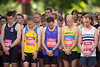 Runners observe a moments silence for the Manchester Terrorist attack before the start of  the Vitality Wave for The Vitality Westminster Mile, Sunday 28th May 2017.<br /> <br /> Photo: Ben Queenborough for The Vitality Westminster Mile<br /> <br /> For further information: media@londonmarathonevents.co.uk