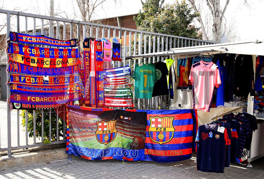 FC Barcelona merchandise on sale outside the Camp Nou Stadium - Mandatory by-line: Matt McNulty/JMP - 14/03/2018 - FOOTBALL - Camp Nou - Barcelona, Catalonia - Barcelona v Chelsea - UEFA Champions League - Round of 16 Second Leg