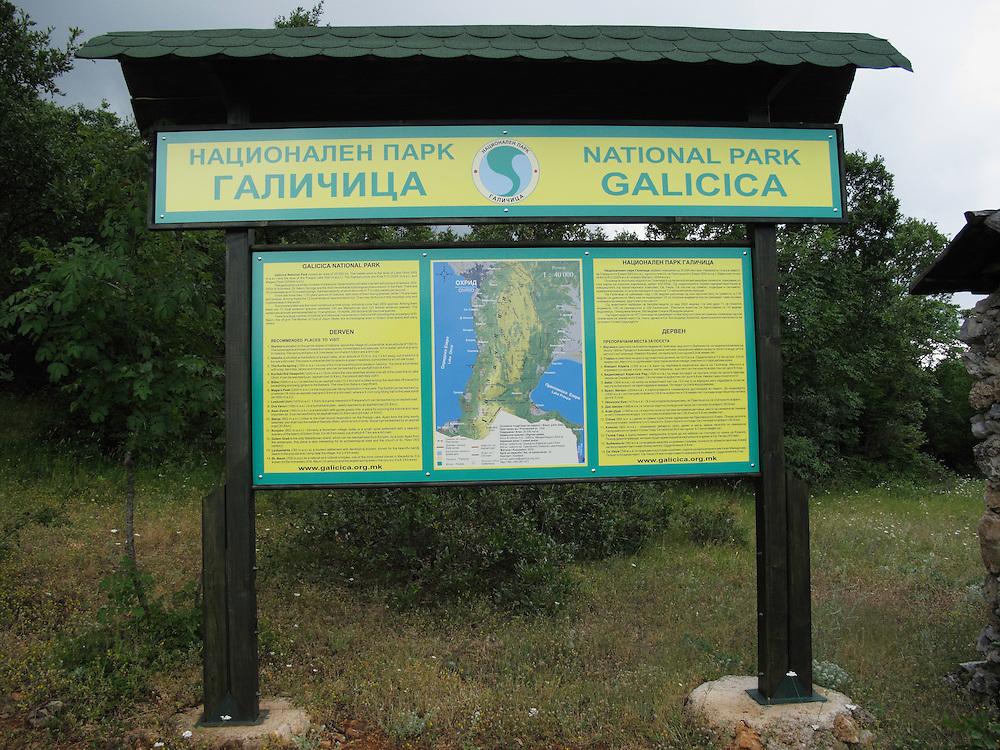 Sign post for Galicica National Park at<br /> Dervan. Lake Ohrid (693m) side of Galicica mountain range.<br /> Galicica National Park, Macedonia, June 2009<br /> Mission: Macedonia, Lake Macro Prespa /  Lake Ohrid, Transnational Park<br /> David Maitland / Wild Wonders of Europe
