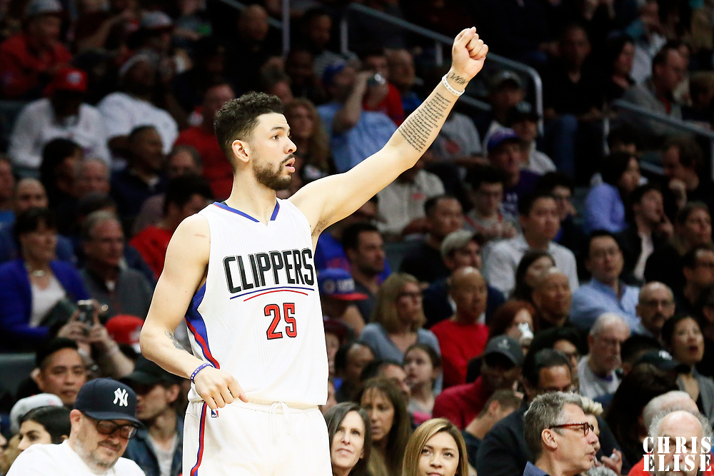 25 March 2016: LA Clippers guard Austin Rivers (25) is seen during the Los Angeles Clippers 108-95 victory over the Utah Jazz, at the Staples Center, Los Angeles, California, USA.