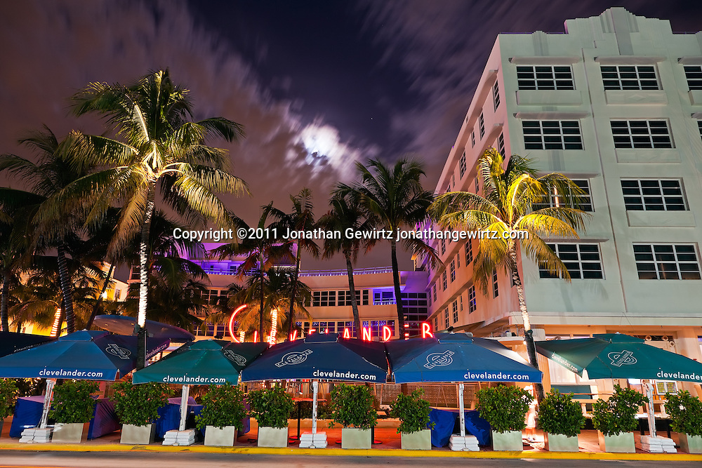 The Clevelander Hotel on South Miami Beach's Ocean Drive at night. WATERMARKS WILL NOT APPEAR ON PRINTS OR LICENSED IMAGES.