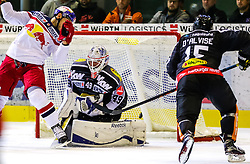18.09.2015, Messestadion, Dornbirn, AUT, EBEL, Dornbirner Eishockey Club vs EC Red Bull Salzburg, 3. Runde, im Bild Florian Hardy (Dornbirner Eishockey Club) // during the Erste Bank Icehockey League 3rd round match between Dornbirner Eishockey Club vs EC Red Bull Salzburg at the Messestadion in Dornbirn, Austria on 2015/09/18. EXPA Pictures © 2015, PhotoCredit: EXPA/ Peter Rinderer