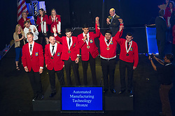 The 2017 SkillsUSA National Leadership and Skills Conference Competition Medalists were announced Friday, June 23, 2017 at Freedom Hall in Louisville. <br /> <br /> Automated Manufacturing Technology<br /> <br /> 	Team I (consisting of Salvador Alcala, William Kipp, Madison Gigliotti)<br />   High School	 McCann Technical High School<br />   Gold	 North Adams, MA<br /> Automated Manufacturing Technology	Team B (consisting of Logan Bruneau, Tobias Schmidt, Jake Stein)<br />   High School	 S &amp; W Washtenaw Consortium<br />   Silver	 Saline, MI<br /> Automated Manufacturing Technology	Team H (consisting of Sudarshan Kadalazhi, Tomas Ponce, Dylan Hulstedt)<br />   High School	 Paradise Valley High School<br />   Bronze	 Phoenix, AZ<br /> Automated Manufacturing Technology	Team J (consisting of Peter Prombo-Cates, Matthew Roderick, Patrick McDermott)<br />   College	 Ranken Tech College<br />   Gold	 Saint Louis, MO<br /> Automated Manufacturing Technology	Team O (consisting of Quacy Wilson, Jason Hall, Tucker Hildreth)<br />   College	 Gillette College<br />   Silver	 Gillette, WY<br /> Automated Manufacturing Technology	Team D (consisting of Trevor Purdy, Elijah Buist, Andrew Ketchum)<br />   College	 Ferris State University<br />   Bronze	 Big Rapids, MI