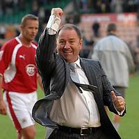 Photo: Ashley Pickering.<br /> Norwich City v Bristol City. Coca Cola Championship. 20/10/2007.<br /> Bristol manager Gary Johnson celebrates his teams victory