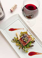 Jordan Vineyard and Winery,  Duck breast with asparagus and Cabernet Sauvignon