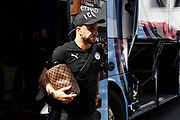 Kyle Walker (2) of Manchester City gets off the team bus on arrival to the Vitality Stadium ahead of the Premier League match between Bournemouth and Manchester City at the Vitality Stadium, Bournemouth, England on 25 August 2019.