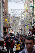 the very crowded Istiklal shopping street in Istanbul Turkey