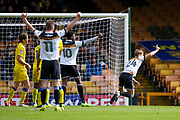 Port Vale defender Nathan Smith (24) scores a goal and celebrates to make the score 1-0 during the EFL Sky Bet League 1 match between Port Vale and AFC Wimbledon at Vale Park, Burslem, England on 1 April 2017. Photo by Simon Davies.