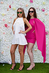 LIVERPOOL, ENGLAND - Friday, June 16, 2017: Fashion models Ellie and Kat during Day Two of the Liverpool Hope University International Tennis Tournament 2017 at the Liverpool Cricket Club. (Pic by David Rawcliffe/Propaganda)