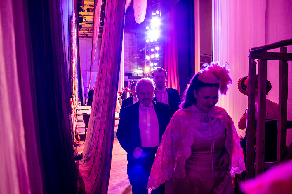 DONETSK, UKRAINE - FEBRUARY 1, 2015: Performers with the Donetsk National Academic Opera and Ballet Theatre walk off stage during a performance of The Gypsy Princess in Donetsk, Ukraine. The opera company kicked off a new season in October, despite a separatist insurgency in Eastern Ukraine that has killed more than 5000 people. CREDIT: Brendan Hoffman for The New York Times