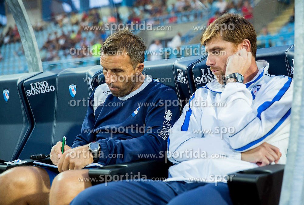 Miran Srebrnic and Luigi Apolloni, head coach of Gorica during 2nd Leg football match between ND Gorica and Molde FK (NOR) in Second Qualifying Round of UEFA Europa League 2014/15, on July 24, 2014 in Sportni park Nova Gorica, Slovenia. Photo by Vid Ponikvar / Sportida.com