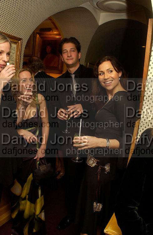 Minnnie Driver. Artists Independent Networks  Pre-BAFTA Party at Annabel's co hosted by Charles Finch and Chanel. Berkeley Sq. London. 11 February 2005. . ONE TIME USE ONLY - DO NOT ARCHIVE  © Copyright Photograph by Dafydd Jones 66 Stockwell Park Rd. London SW9 0DA Tel 020 7733 0108 www.dafjones.com