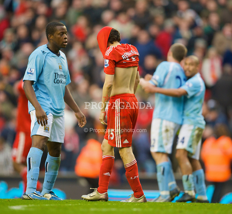 LIVERPOOL, ENGLAND - Sunday, February 22, 2009: Liverpool's Yossi Benayoun looks dejected after his side's 1-1 draw against Manchester City during the Premiership match at Anfield. (Mandatory credit: David Rawcliffe/Propaganda)