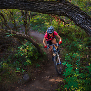 Heather Goodrich rides fast and furious through the lower section of the Prince Creek Trail in Carbondale Colorado.