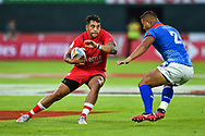 Mike Fuailefau of Canada in action<br /> <br /> Photographer Craig Thomas/Replay Images<br /> <br /> World Rugby HSBC World Sevens Series - Day 1 - Thursday 5rd December 2019 - Sevens Stadium - Dubai<br /> <br /> World Copyright © Replay Images . All rights reserved. info@replayimages.co.uk - http://replayimages.co.uk