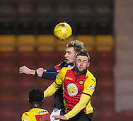 Dundee&rsquo;s Kevin Holt and Partick Thistle's Sean Welsh battle in the air - Partick Thistle v Dundee in the Ladbrokes Scottish Premiership at Firhill, Glasgow - Photo: David Young, <br /> <br />  - &copy; David Young - www.davidyoungphoto.co.uk - email: davidyoungphoto@gmail.com