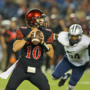 03 September 2016: The San Diego State Aztecs football team open's up the season at home against the University of New Hampshire Wildcats. San Diego State quarterback Christian Chapman (10) drops back to pass in the the third quarter against New Hampshire. The Aztecs beat the Wildcats 31-0. www.sdsuaztecphotos.com