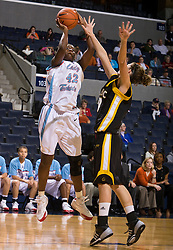 Louisiana Tech forward Shanavia Dowdell (42) shoots against UMBC.  The Louisiana Tech Lady  Techsters defeated the UMBC Retrievers 83-62 in the Marriott Cavalier Classic Basketball Tournament at the John Paul Jones Arena on the Grounds of the University of Virginia in Charlottesville, VA on December 28, 2008.