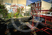 Graffiti, Urban Poverty, Abandoned Playground, Slum Neighborhood, Drugs, Drug Lords, North Philadelphia, PA