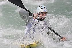 Janos Peterlin of Slovenia competes in the Men's Kayak K1 at Kayak & Canoe ICF slalom race Tacen 2010 on May 16, 2010 in Tacen, Ljubljana, Slovenia. (Photo by Vid Ponikvar / Sportida)
