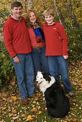 United States, Washington, Bellevue, family portrait with dog.  MR