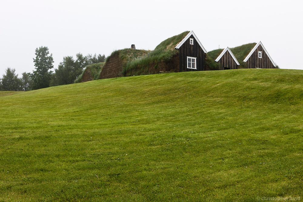 Nýjibær farm house at Hólar in Hjaltadalur valley, Skagafjörður, North Iceland. Nýjibær á Hólum. Hólar í Hjaltadal eru bær, kirkjustaður og skólasetur í Hjaltadal í Skagafjarðarsýslu.