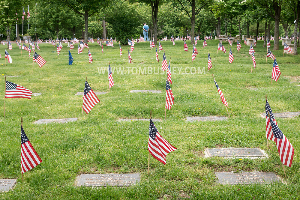 Goshen, New York - American flags at the Orange County Veterans Cemetery for Memorial Day on May 27, 2017.