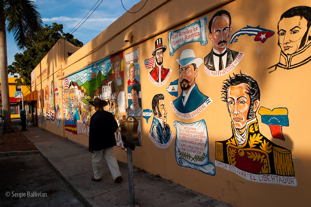Colorful murals of prominent Latin American celebrities, martirs, politicians and liberators in Little Havana in Miami, Florida.