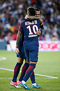 Daniel Alves da Silva (PSG) greated Neymar da Silva Santos Junior - Neymar Jr (PSG) after it goal scored during the French championship L1 football match between Paris Saint-Germain (PSG) and Toulouse Football Club, on August 20, 2017, at Parc des Princes, in Paris, France - Photo Stephane Allaman / ProSportsImages / DPPI