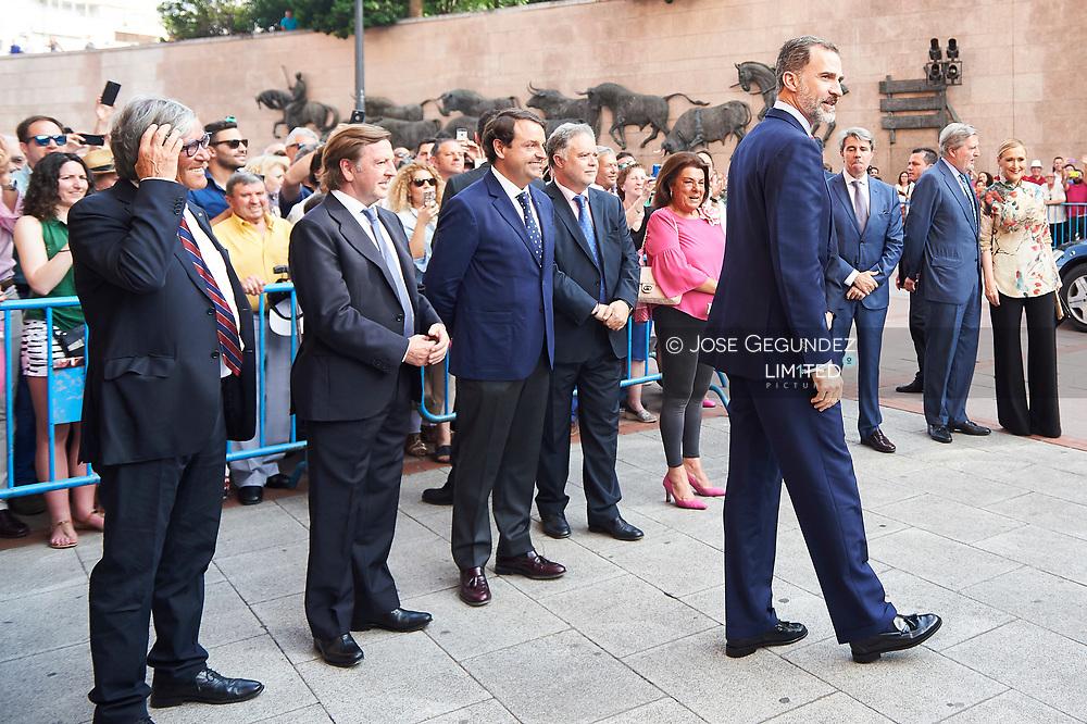 King Felipe VI of Spain attended Beneficencia bullfight at Las Ventas Bullring on June 16, 2017 in Madrid, Spain