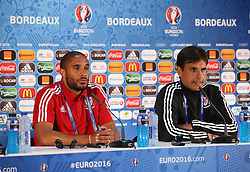 BORDEAUX, FRANCE - Friday, June 10, 2016: Wales' captain Ashley Williams and manager Chris Coleman during a press conference at the Stade de Bordeaux ahead of their opening game of the UEFA Euro 2016 Championship against Slovakia. (Pic by UEFA Handout/Propaganda)