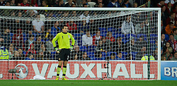 12.10.2012, Cardiff City Stadium, Cardiff, WAL, FIFA WM Qualifikation, Wales vs Schottland, im Bild Wales' goalkeeper Lewis Price looks dejected as Scotland score the opening goal during FIFA World Cup Qualifier Match between Wales and Scotland at the Cardiff City Stadium, Cardiff, Wales on 2012/10/12. EXPA Pictures © 2012, PhotoCredit: EXPA/ Propagandaphoto/ David Rawcliffe..***** ATTENTION - OUT OF ENG, GBR, UK *****