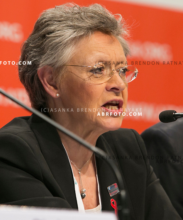 20/07/2014. International AIDS Society president Françoise Barré-Sinoussi speaks during the official opening press conference of the 20th International AIDS conference held in Melbourne Australia on July 20, 2014.  Photo credit : Asanka Brendon Ratnayake