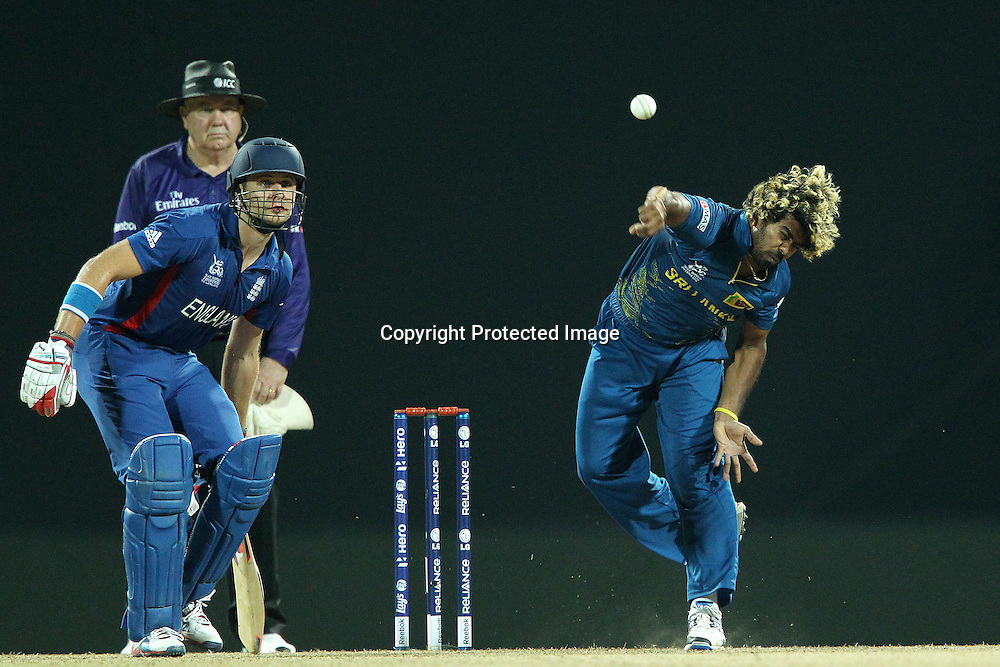 Lasith Malinga bowls during the ICC World Twenty20 Super Eights match between England and Sri Lanka held at the  Pallekele Stadium in Kandy, Sri Lanka on the 1st October 2012<br /> <br /> Photo by Ron Gaunt/SPORTZPICS