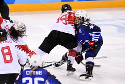 PYEONGCHANG, Feb. 22, 2018  Marie-Philip Poulin of Canada (2nd R) vies for the puck with Brianna Decker of the United States (1st R) during women's ice hockey final between Canada and the United States at Gangneung Hockey Centre, in Gangneung, South Korea, Feb. 22, 2018. The United States beat Canada in shootout to win the women's ice hockey gold medal at the Winter Olympic Games here on Thursday. (Credit Image: © Ju Huanzong/Xinhua via ZUMA Wire)