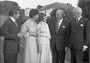 06/09/1978<br /> 09/06/1978<br /> 06 September 1978<br /> Reception for Mr. Sean Donlon, New Irish Ambassador to the United States, at the U.S. Embassy Residence, Phoenix Park, Dublin. Picture shows Sean Donlon; Elizabeth McNelly Shannon; Mrs Donlon; Taoiseach Jack Lynch and Ambassador William V. Shannon at the event.