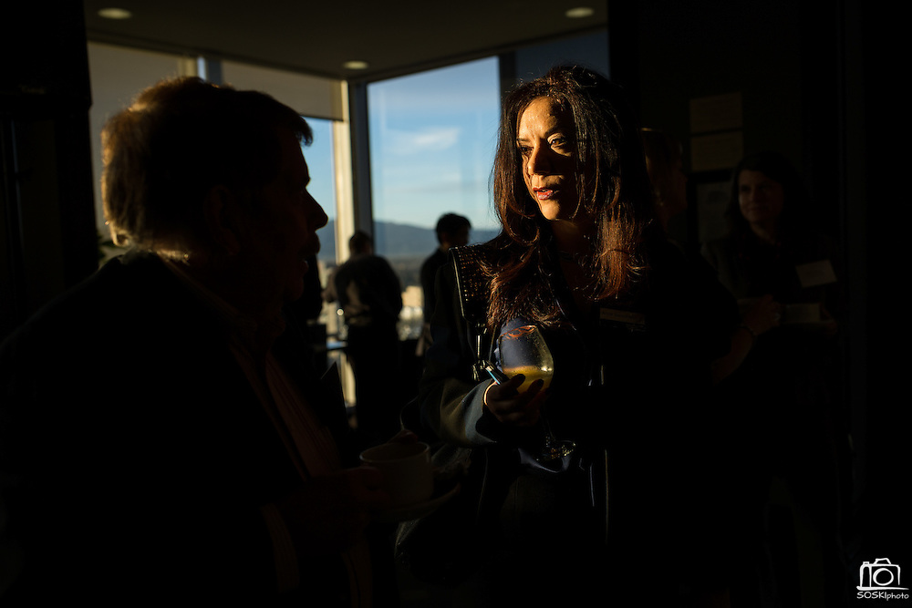 Attendees network before the Silicon Valley Business Journal Power of Manufacturing Breakfast at the Silicon Valley Capital Club in San Jose, California, on January 24, 2017. (Stan Olszewski for Silicon Valley Business Journal)