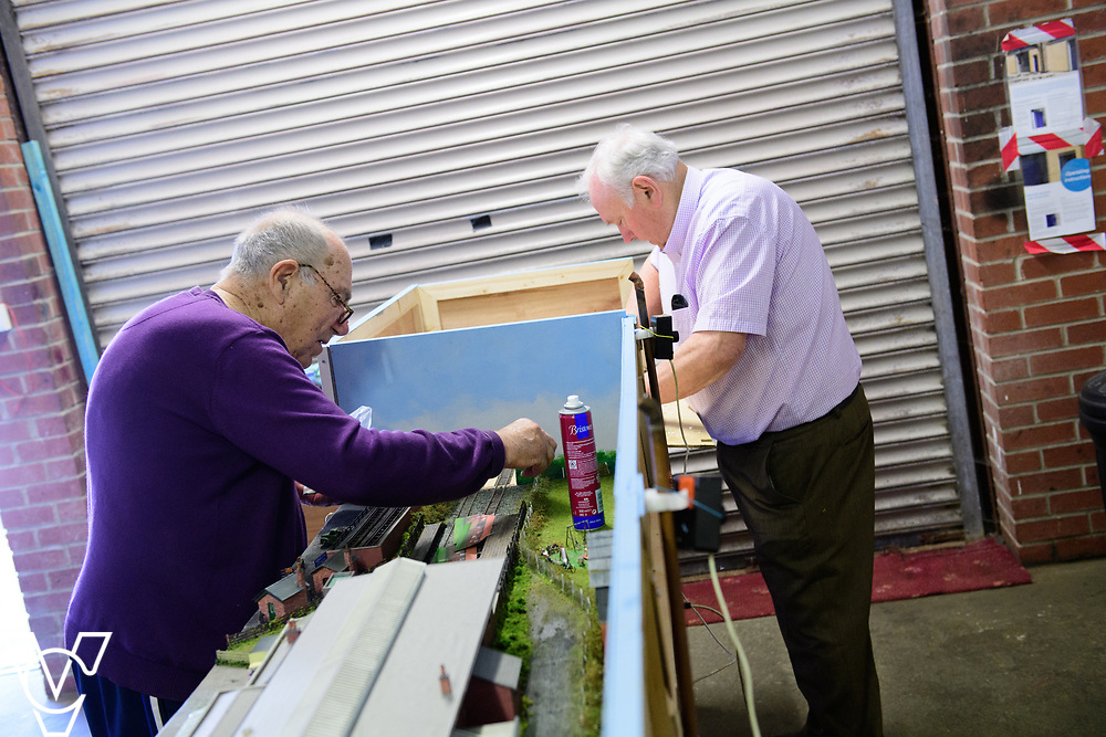 INSIGHT MAGAZINE: Bridlington Model Railway Society are based in Station Road, Bridlington, in a railway arch unit owned by Network Rail.  Pictured is Trevor Pritchard, left, and Harold Bellhouse.<br /> <br /> Picture: Chris Vaughan Photography<br /> Date: May 31, 2017